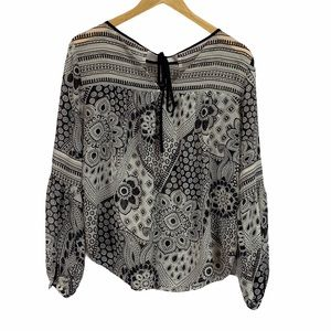 LOFT black and cream boho print peasant blouse